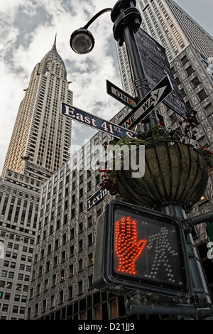 Red traffic light in front of the Chrysler building, vertical, New York City, New York, USA - Stock Photo