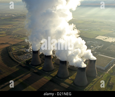 aerial view of Eggborough Power Station in Yorkshire, UK - Stock Photo