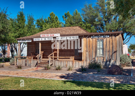 Replica of Judge Roy Bean's saloon at West of the Pecos Museum in Pecos, Texas, USA - Stock Photo