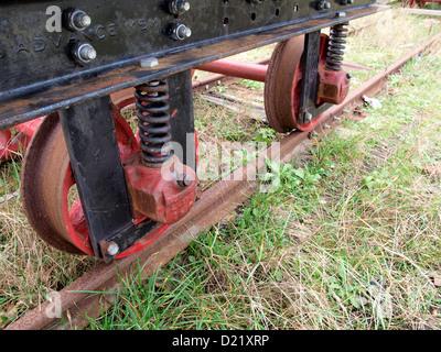 Wheels of a railway truck, UK - Stock Photo