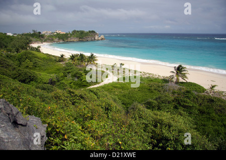 Foul Bay beach, Barbados. Crane Bay Resort in the background - Stock Photo