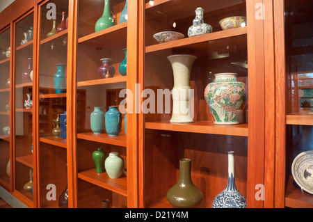 Chinese ceramics on display in a museum. - Stock Photo