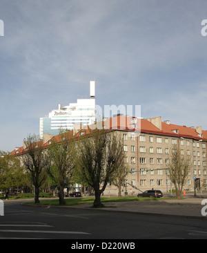 Radisson Blu Sky Hotel (behind the apartment blocks) in Tallinn Estonia - Stock Photo