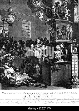 WILLIAM HOGARTH (1697-1764) English artist. Engraving 'Credulity, Superstition, and Fanaticism' published 1762 - Stock Photo