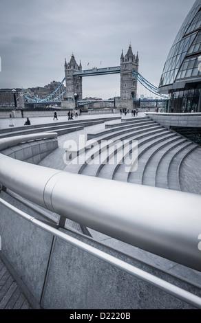 City Hall (Architect-Sir Norman Foster) and Tower Bridge, London, England, UK - Stock Photo