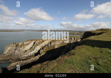 Looking from the Baltimore Beacon back towards the village of Baltimore in County Cork, Ireland - Stock Photo