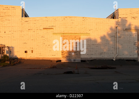 Abandoned warehouse at the historic Mare Island Naval Shipyard near Vallejo. This building burned to the ground - Stock Photo