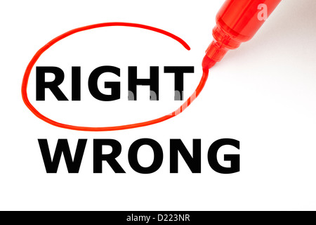 Choosing Right instead of Wrong. Right selected with red marker. - Stock Photo
