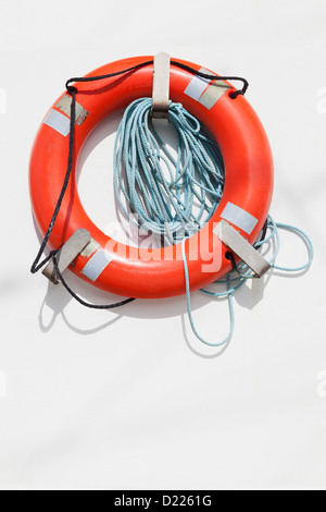 Bright life saving ring, Charleston Marina, Oregon - Stock Photo