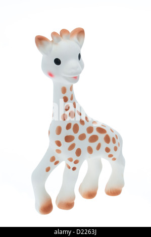 A baby's toy giraffe teether - studio shot with a white background - Stock Photo