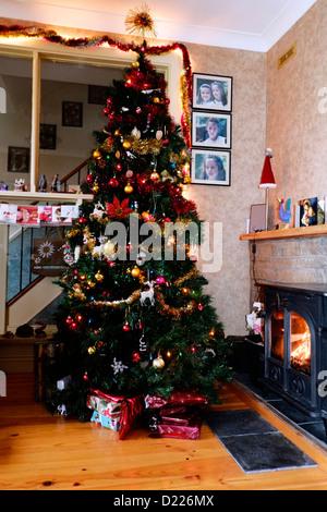 Christmas tree living room Ireland - Stock Photo