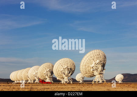 Radio telescope dishes in the Very Large Array (VLA), New Mexico, USA. - Stock Photo