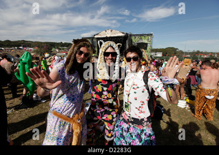festivalgoers in front of main stage at BESTIVAL FESTIVAL, ISLE OF WHITE, SEPTEMBER 2012 - Stock Photo
