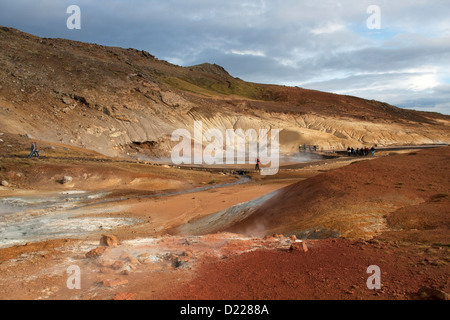 View of Krysuvik-Seltun geothermal area in southern Iceland. - Stock Photo