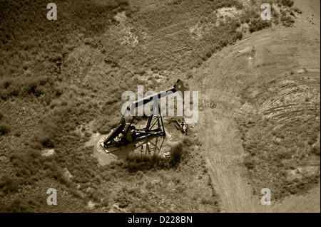 aerial photograph pumpjack oil well southeastern Wyoming - Stock Photo