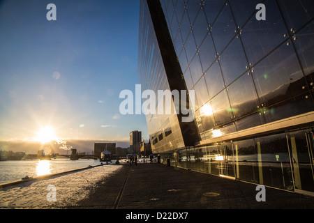 New, modern annex of the royal Danish library, called The Black Diamond, Copenhagen, Denmark, Europe - Stock Photo