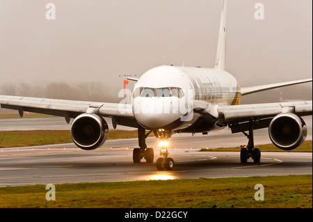 Monarch Airlines Boeing 757-2T7 Taxiing on Arrival at Manchester Airport England United Kingdom UK - Stock Photo