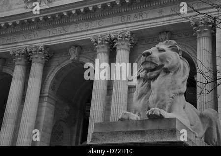 Lion sculpture outside New York Public LIbrary - Stock Photo