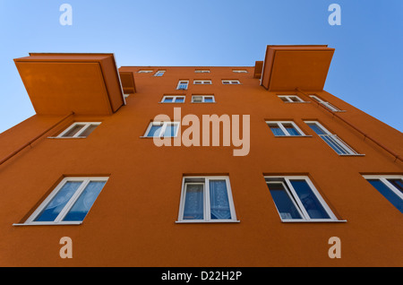 view of a facade of a modern architecture house with two balconies - Stock Photo