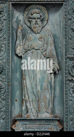 Saint James, detail of door of Saint Vincent de Paul church, Paris - Stock Photo