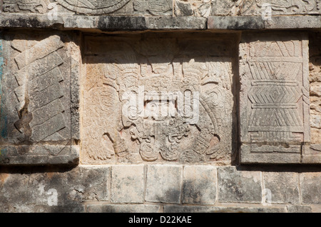 Detail on the Platform of Eagles and Jaguars at Chichen Itza, Mexico - Stock Photo