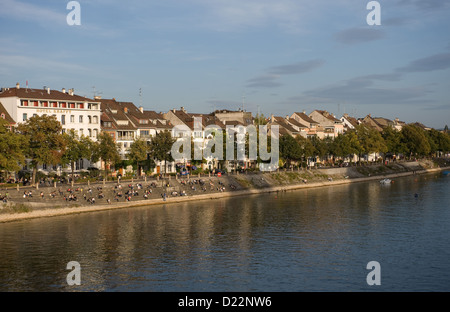 Basel, Switzerland, the promenade along the Rhine - Stock Photo