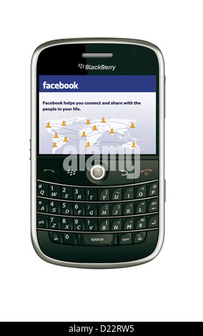facebook on blackberry model 9000 mobile phone - Stock Photo