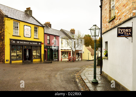 A living reconstruction of a 19th Century street in the Bunratty Folk Park, Bunratty Castle, Nr Limerick, Ireland. - Stock Photo