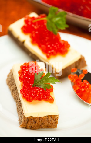 caviar red sandwich on white plate - Stock Photo