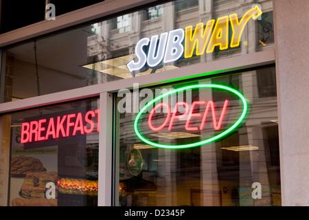 Subway restaurant open sign - Stock Photo