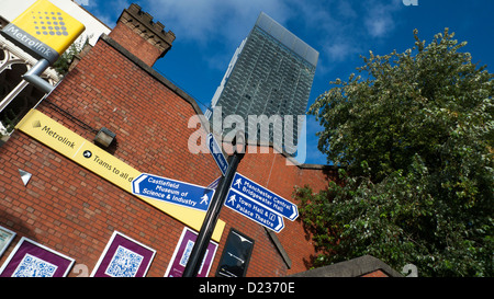 Manchester street signs England UK - Stock Photo