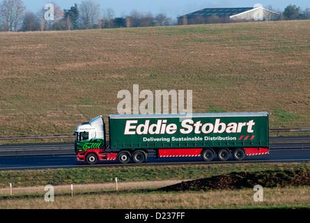 Eddie Stobart lorry on M40 motorway, UK - Stock Photo