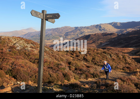 Senior woman walker walking on path to Aberglaslyn or Sygun from Llyn Dinas above Nant Gwynant in mountains of Snowdonia - Stock Photo