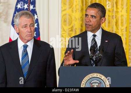 President Barack Obama nominates Chuck Hagel or Secretary of Defense.  - Stock Photo