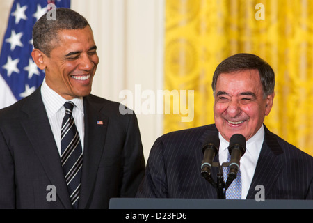 President Barack Obama and outgoing Secretary of Defense Leon Panetta. - Stock Photo