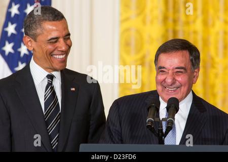President Barack Obama and outgoing Secretary of Defense Leon Panetta. - Stock Photo