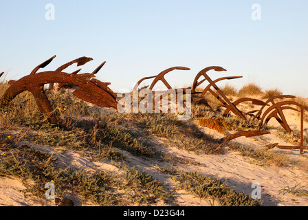 Anchors portugal. Algarve. Cemetery of anchors on the island of Tavira, Portugal - Stock Photo