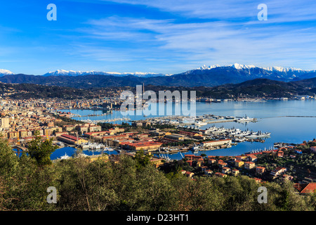 Panorama of the Italian Navy in La Spezia, Italy - Stock Photo