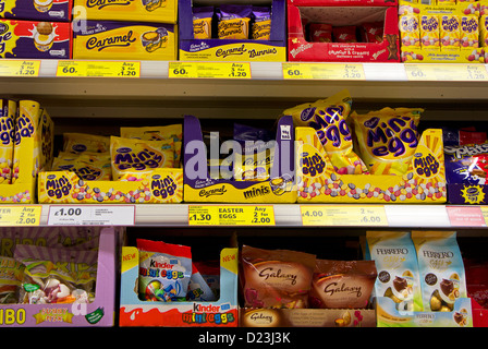 mini easter eggs on sale in a uk supermarket - Stock Photo