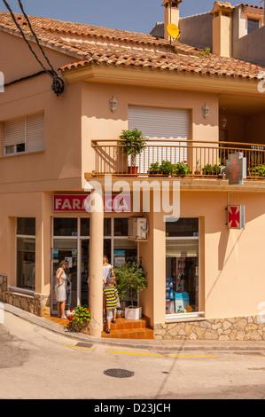The Farmacia ( pharmacy ) in the old village of Pratdip , Costa Dorada , Spain - Stock Photo