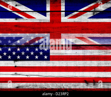 American flag and Union Jack flag montage with wood textured background - Stock Photo