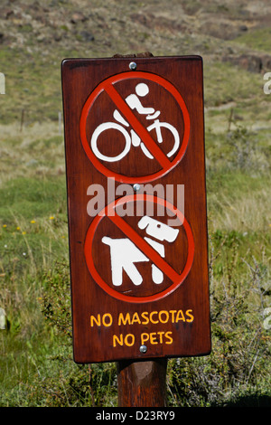 Trail sign in Los Glaciares National Park, Patagonia, Argentina - Stock Photo
