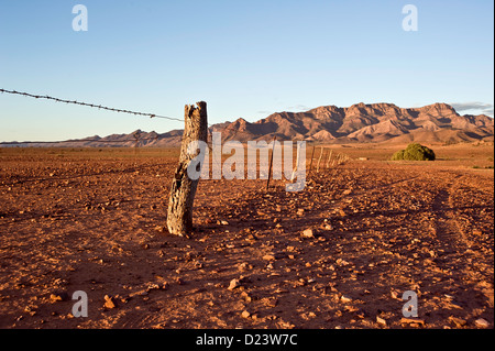 An old stock fence at sunset on Merna Morna Station in the Australian outback - Stock Photo