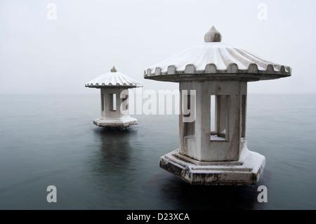 Lanterns on West Lake in winter, Hangzhou, China - Stock Photo