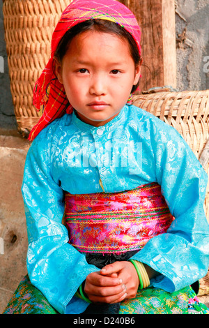 White Hmong girl at Dong Van market, Ha Giang Province, North West Vietnam, Asia. - Stock Photo