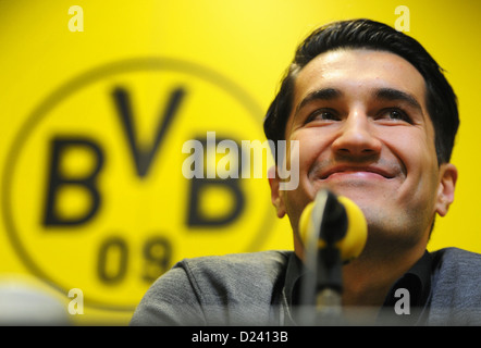 Professional soccer player Nuri Sahin is presented as the new acquisition of Bundesliga soccer club Borussia Dortmund - Stock Photo