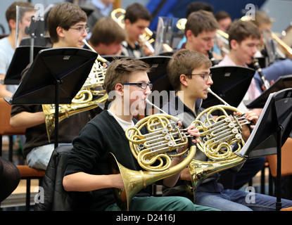Brass of the federal youth orchestra rehearse in Colditz, Germany, 7 January 2013. The principle conductor of Dresden's - Stock Photo