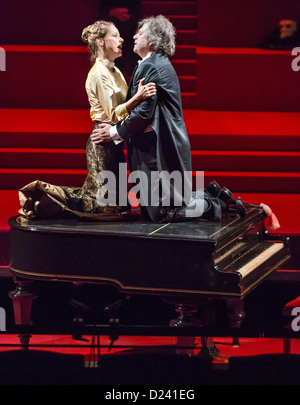 Actors Peter Bernhardt (R) and Chris Pichler rehearse for the play 'Wahnfried - Bilder einer Ehe' ('Wahnfried - - Stock Photo