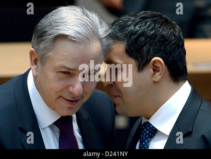Mayor of Berlin Klaus Wowereit (L) and chairperson of the SPD Bundestag delegation Raed Saleh take part in the special - Stock Photo