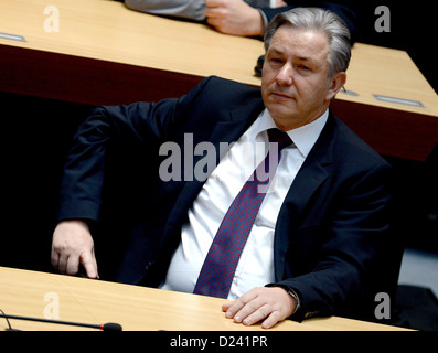 Mayor of Berlin Klaus Wowereit takes part in the special meeting of Berlin Parliament due to insertion of motion - Stock Photo